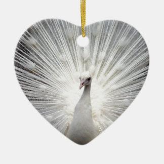 Beautiful white peacock ceramic heart decoration