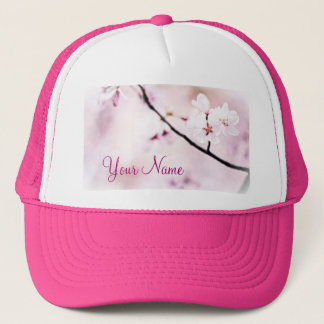 Beautiful White Pink Cherry Blossoms Sunshine Tree Trucker Hat