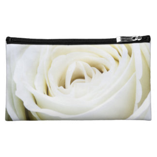 Beautiful White Rose Floral Make Up Cosmetic Bag