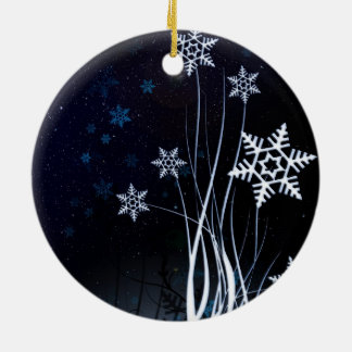 Beautiful white snow flower christmas ornament