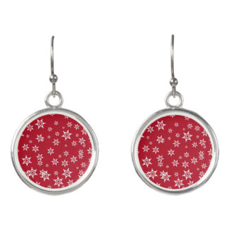 Beautiful White Snowflakes on Red Background Earrings