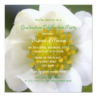 Beautiful white strawberry flower graduation party 13 cm x 13 cm square invitation card