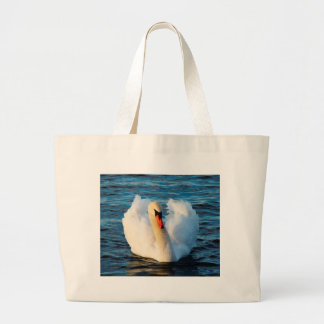 Beautiful White Swan in lake Canvas Bags