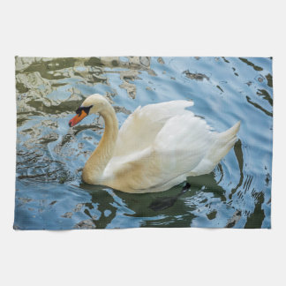 Beautiful white swan kitchen towel