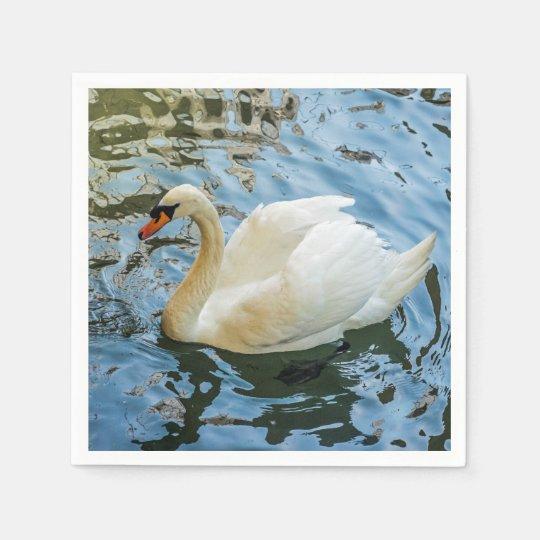 Beautiful white swan paper serviettes