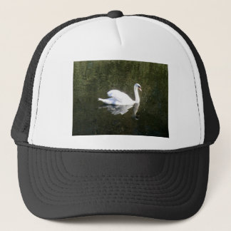 Beautiful White Swan Reflecting On The River Trucker Hat