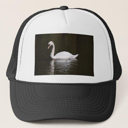Beautiful White Swan Swimming In Lake Water Trucker
