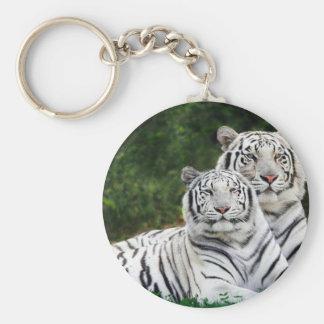 Beautiful White Tigers Basic Round Button Key Ring