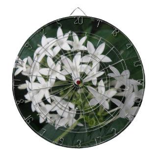 Beautiful White Tropical Flowers Dart Board
