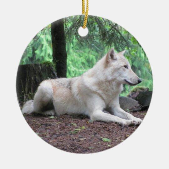Beautiful White Wolf Christmas Ornament