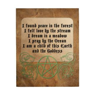 Beautiful Wiccan Poem Wood Print
