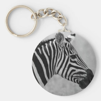 Beautiful wild black and white zebra design basic round button key ring