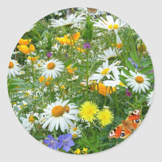 Beautiful Wildflower and Butterfly Meadow Classic Round Sticker