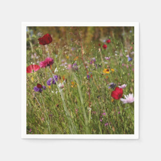 Beautiful Wildflower Meadow Poppies Disposable Serviette