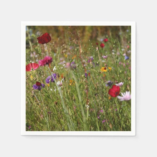 Beautiful Wildflower Meadow Poppies Disposable Serviettes