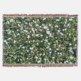 Beautiful Wildflowers on Grass Nature Print Throw Blanket