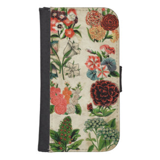 Beautiful Wildflowers Retro Floral Pattern Galaxy S4 Wallet Cases