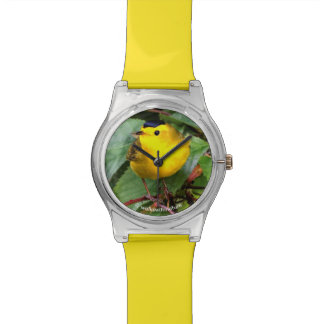 Beautiful Wilson's Warbler in the Cherry Tree Wrist Watches