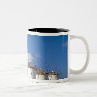 Beautiful windmills on the island of Mykonos, Two-Tone Coffee Mug