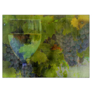 Beautiful Wine Glass and Grapes Cutting Board