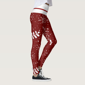 Beautiful Winter Foliage Red and White Christmas Leggings