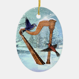 Beautiful winter harp ornament