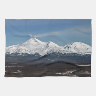 Beautiful winter panorama of Kamchatka volcanoes Hand Towels