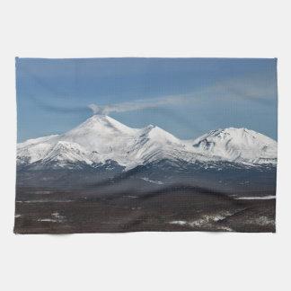 Beautiful winter panorama of Kamchatka volcanoes Tea Towel