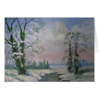 Beautiful Winter Scene Oil Painting Note Card