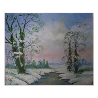 Beautiful Winter Scene Oil Painting Poster