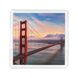 Beautiful winter sunset at Golden Gate Bridge Acrylic Tray