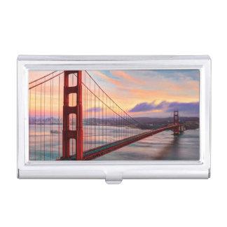 Beautiful winter sunset at Golden Gate Bridge Business Card Holder