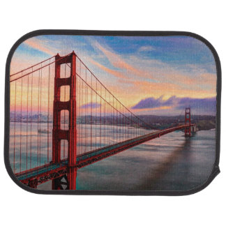 Beautiful winter sunset at Golden Gate Bridge Car Mat