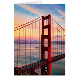 Beautiful winter sunset at Golden Gate Bridge Card