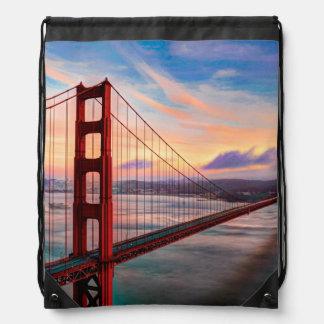 Beautiful winter sunset at Golden Gate Bridge Drawstring Bag