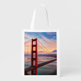 Beautiful winter sunset at Golden Gate Bridge Reusable Grocery Bag