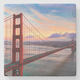 Beautiful winter sunset at Golden Gate Bridge Stone Coaster