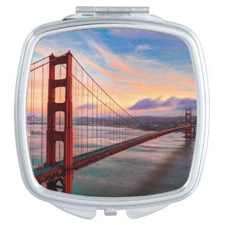 Beautiful winter sunset at Golden Gate Bridge Vanity Mirrors