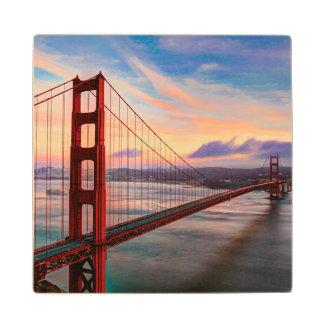 Beautiful winter sunset at Golden Gate Bridge Wood Coaster