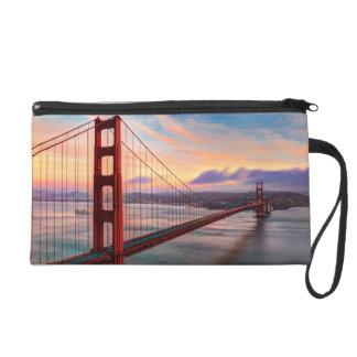 Beautiful winter sunset at Golden Gate Bridge Wristlet