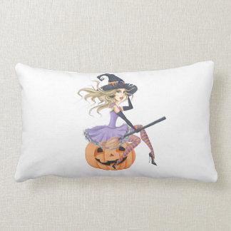 Beautiful Witch on The Pumpkin Lumbar Cushion