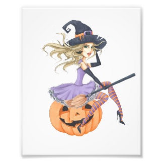 Beautiful Witch on The Pumpkin Photo Print