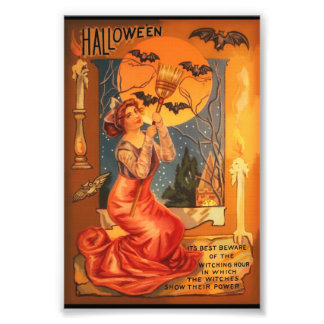 Beautiful Witch Vintage Halloween Greeting Photograph