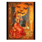 Beautiful Witch Vintage Halloween Greeting Postcard