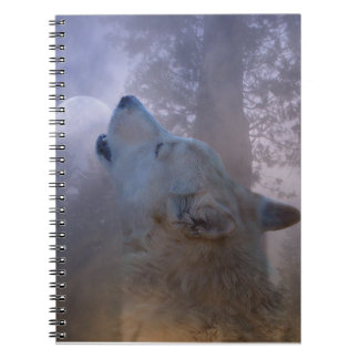 Beautiful Wolf and Moon Notebook