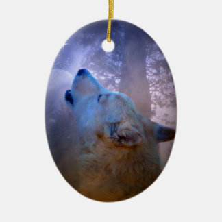 Beautiful Wolf and Moon Xmas Ornament