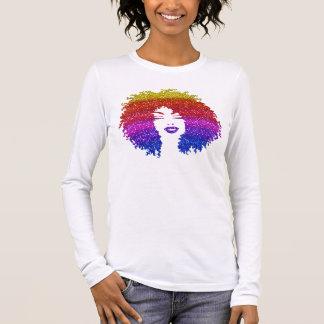 Beautiful Woman | Afro Natural Hairstyle | Rainbow Long Sleeve T-Shirt