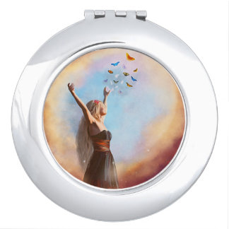 Beautiful Woman & Butterflies Compact Mirror