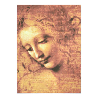 Beautiful Woman by Leonardo da Vinci 11 Cm X 16 Cm Invitation Card