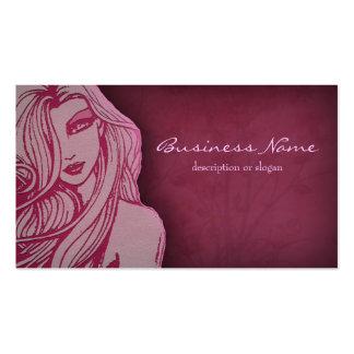 Beautiful Woman Deep Pink Business Card